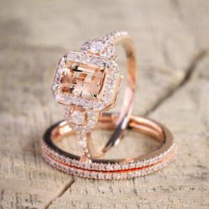 Elegant 18K Rose Gold Filled Morganite Gemstone Ring Set Bridal Wedding Jewelry
