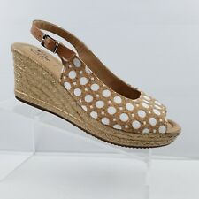 Spring Step Margarita White/Tan Cork Wedge Sandal Size 41 US 9.5-10