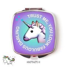 Funny Emoji Unicorn Cute Compact Make up Handheld pocket Mirror Gift CME6