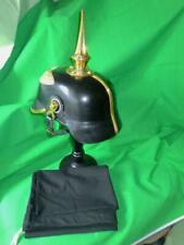 More details for german helmet 1915 tall spike picklehaube leather & brass,stand,bag,free p/p