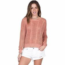 2016 NWT WOMEN VOLCOM RESTLESS TIES PULLOVER $50 S sand sweater knit