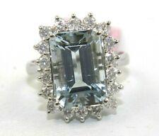 Emerald Cut Aquamarine & Diamond Halo Solitaire Ring 14k White Gold 6.33Ct