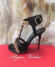 "RARE $2495 Roger Vivier ""Caviar"" Black & Gold Beaded Sandals 38.5"