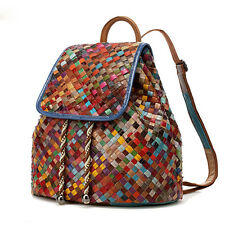 Women Genuine Leather Shoulder Backpack Braided School Bag Travel Rucksack