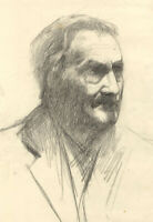 Ellen M. Murray Thomson, Male Portrait Head Study – Early 20th-century drawing