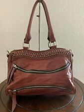 Treesje Chain Large Plum Leather Tote Shopper Shoulder Carry-all Purse Bag
