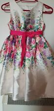 NEW FLORAL DRESS SIZE 5-6 YEARS APPROXIMATELY PINK GREEN CREAM POLYESTER