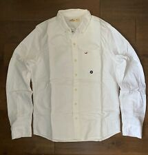 New Hollister Men's Oxford White Dress Shirt, 100% Cotton, All sizes