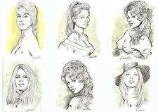 "LOT DE 6 CARTES POSTALES ""BRIGITTE BARDOT"", dessins de Jean Bernard Auboin"