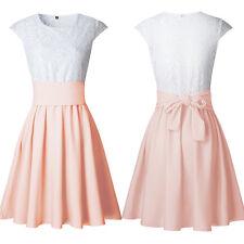 Damen Spitze Kleid Minikleid Glockenkleid Kurzarm Party Sommerkleid Skater Kleid
