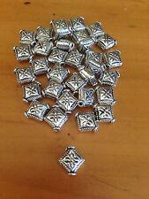 Antique Silver Diamond Spacer Beads x 25