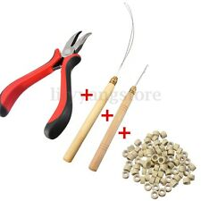 100 Silicone Micro Rings Beads Feather Hair Extension Tools Set Pliers Loop Hook