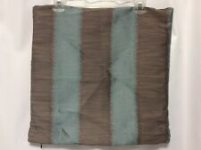 """Better Homes Pillow Cover 17"""" Square Brown  Slate Blue Stripe Polyester Sheen #3"""
