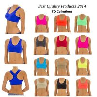 Women Seamless Racerback Paded Sports Bra Yoga Fitness Stretch Workout Top Tank