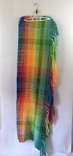 Vintage Amazing Rainbow Stripe Crocheted + Woven Throw Blanket Long Tassels 60in