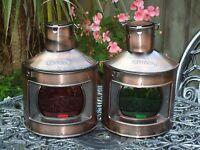Ships Port Side & Starboard Copper Lanterns -Lamp Portside Masthead Red Garden