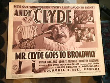 Mr. Clyde Goes To Broadway 1940 Columbia short comedy title lobbycard Andy Clyde