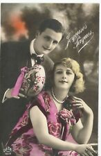 French Happy Easter Couple with Porcelain Egg DEDE Real Photo Postcard c1910