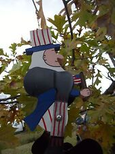 Uncle Sam w/ flag Mini Whirligigs Whirligig Yard Art Hand made from wood