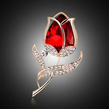 Fashion Bouquet Rhinestone Crystal Rose Flower Brooch Pin Brooches Party Jewelry