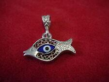 Anhänger 925 Silber Silberanhänger Fischanhänger Fisch Glas magisches Auge M1863