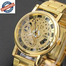Luxury Fashion Casual Stainless Steel Mens Skeleton Watch Steel Quartz Movement.