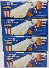 Patriotic Classic Americana Hand Painted Terra Cotta Napkin Rings Set of 16