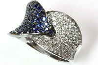 2.35 ct Natural Blue Sapphire & Diamond 14k Solid White Gold Leaf Cocktail Ring