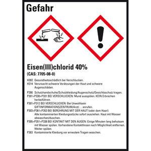 GHS-Etikett Eisen(III)chlorid 40% GefStoffV/GHS/CLP Folie 52x74mm VE=10