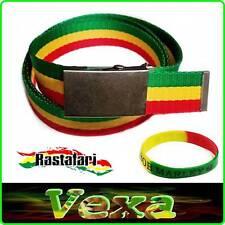 Rasta Reggae Cinturón Pantalón Lona Hombre 125cm correa de cincha de regalo Muñequera Jah Bob