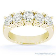 Round Cut Moissanite Five 5-Stone Anniversary Ring 14k Yellow Gold Wedding Band
