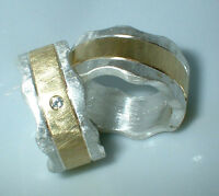10 mm, Partnerringe, Eheringe, Silber 999, Gold 585, Diamant 0,02 ct, Flamere