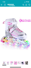 Kuxuan in-line skates adjustable for kids size 13-3 pink with light up wheels