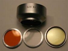 ACE 32 metal slip on lens hood w UV / O / Y filters for Petri 35 super clean