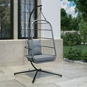 Grey Garden Egg Swing Chair Single Seater - Stand Included
