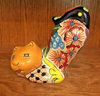 🐈Vintage Mexican Folk Art TONALA POTTERY Crouching Cat Figurine Hand Painted