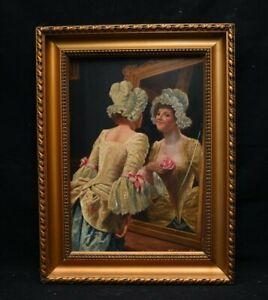Tableau arnold  WILLETTE portrait de femme au miroir Début XXe s fin XIX e