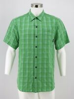 Columbia Button Front Shirt Size Medium Green Plaid Short Sleeve Mens
