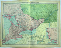 Large Original 1926 Map of W Quebec & Ontario Canada by George Philip. Vintage