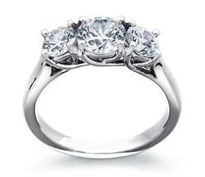 14K White Gold 2.00CT SIZE 4-10 Forever Brilliant Moissanite 3Stone Trellis RING