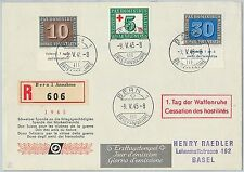 58440 -  SWITZERLAND - POSTAL HISTORY:  FDC COVER  1945 . PEACE Red Cross