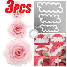 3X 3D Cake Rose Petal Flower Cutter Mold Fondant Icing Decorating Mould Tool DIY
