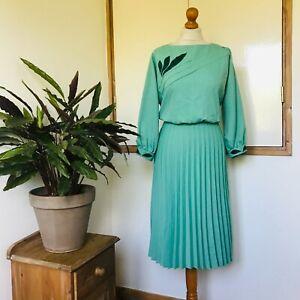 Vtg 80s Green Applique Leaf Design Long Balloon Sleeve Pleated Dress 14
