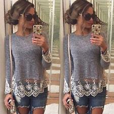 Fashion Women Long Sleeve Shirt Casual Lace Blouse Loose Cotton Tops T Shirt New