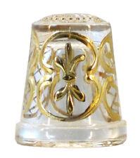 Miniatur Fingerhut mit handgemalten Motiv in Gold - AE 677