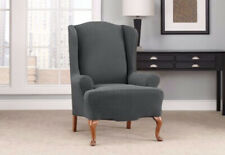 Carbon Gray chevron Wing chair sure fit slip cover slipcover