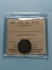 1925 Canadian Small Penny (1c), ICCS Graded VF-20, No Reserve!