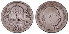 XA.215} HUNGARY 1 korona 1893 / Silver / VF-
