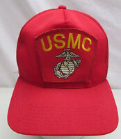United States Marine Corps USMC Snapback Hat Red Embroidered Patch Cap USA
