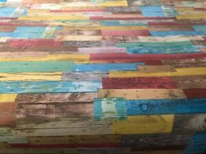 Multi Coloured Oak Pvc Vinyl Table Cloth Plank Wood Effect Floorboards Red Blue